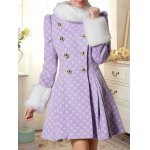 cheap Double Breasted Skirted Coat With Fur Collar