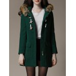 cheap Faux Fur Trim Hooded Duffle Coat