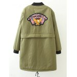 cheap Plus Size Bird Letter Patched Bomber Coat