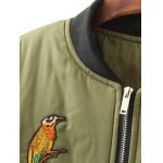Plus Size Bird Letter Patched Bomber Coat deal