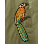 Plus Size Bird Letter Patched Bomber Coat for sale