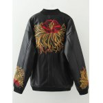 cheap Plus Size Embroidered Faux Leather Bomber Jacket