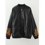 Plus Size Flower Embroidered PU Leather Jacket