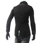 PU Leather Panel Pocket Single Breasted Woolen Coat deal
