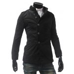 cheap PU Leather Panel Pocket Single Breasted Woolen Coat
