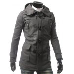 cheap Multi Pocket Button Tab Cuff Hooded Toggle Coat