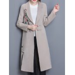 cheap Wool Blend Longline Embroidered Coat