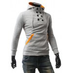 cheap Contrast Color Pocket Button Up Pullover Hoodie