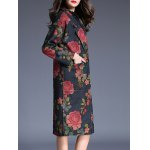 Double Button Long Floral Print Wool Coat for sale