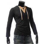 cheap V Neck Long Sleeve Lace Up Panel Tee