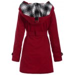 cheap Long Hooded Wool Trench Coat
