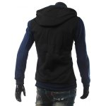 Stand Collar Color Block Panel Baseball Hoodie deal