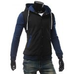 cheap Stand Collar Color Block Panel Baseball Hoodie