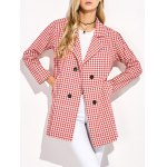 cheap Double Breasted Lapel Plaid Coat