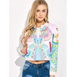 Lipstick 3D Print Cropped Bomber Jacket deal