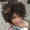 Adiors Hair Short Mixed Color Afro Curly Side Bang Synthetic Wig deal