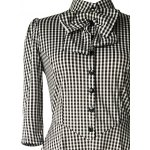 Checked Bow Sweet Heart Neck Swing Dress photo