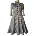 cheap Checked Bow Sweet Heart Neck Swing Dress