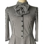 best Checked Bow Sweet Heart Neck Swing Dress
