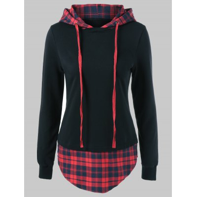 Plus Size Plaid Trim Drawstring Hoodie