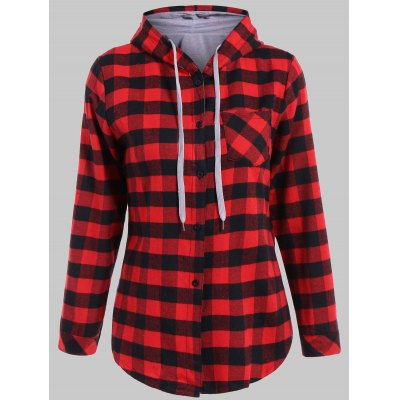 Plaid Pocket Design Buttoned Black Red Hoodie
