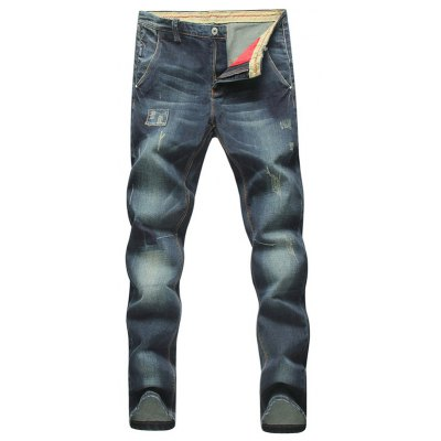 Tapered Fit Zip Fly Applique Distressed Jeans