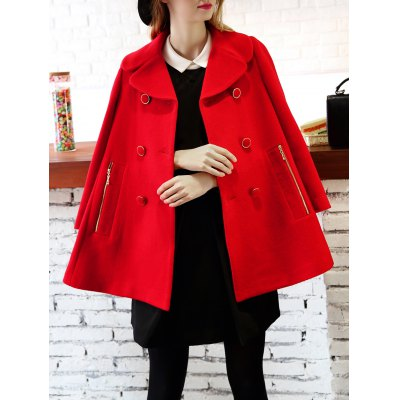 Double Breasted Woolen Skirted Coat