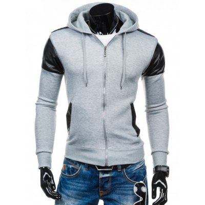 Faux Leather Insert Zip Up Hoodie