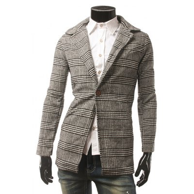 Houndstooth One Button Coat