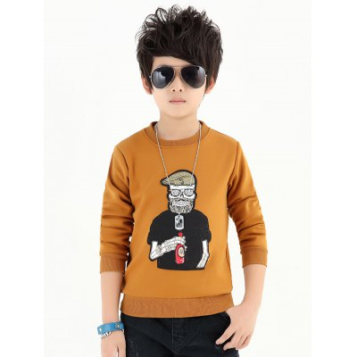 Boys Crew Neck Cartoon Patch Sweatshirt
