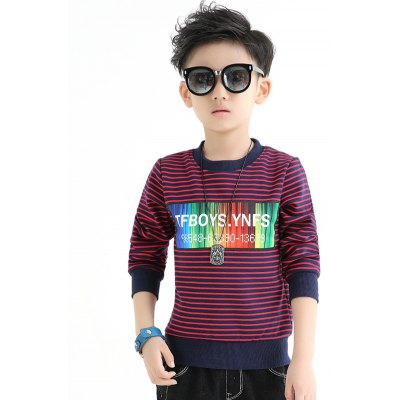 Crew Neck Striped Boys Sweatshirt