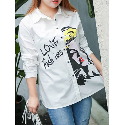 Plus Size Letter Character Printed Shirt