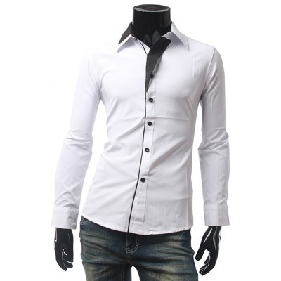 Contrast Color One Button Cuff Shirt