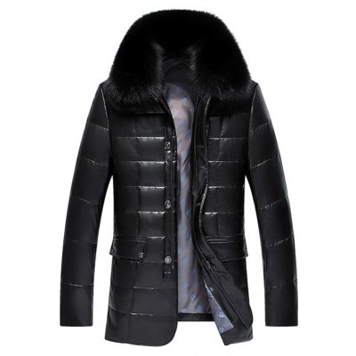 Faux Fur Collar Checked Zip Up Flocking Down Jacket