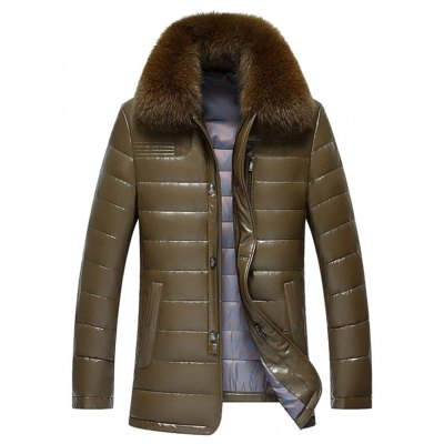 Faux Fur Collar Zip Up Flocking Down PU Leather Jacket