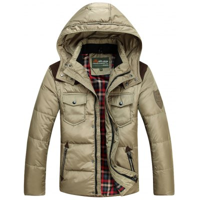 Detachable Hooded Zip Up PU Leather Insert Down Jacket