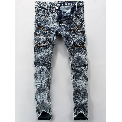 Zippered Pocket Mid Rise Snow Wash Jeans