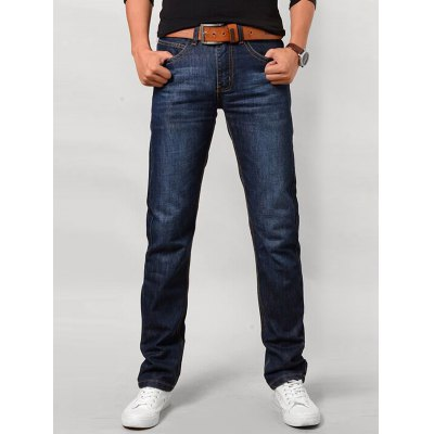 Straight Leg Zip Fly Flap Pocket Jeans