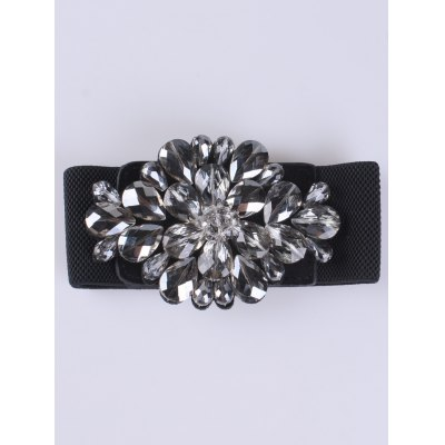 Faux Crystal Elastic Extra Wide Belt
