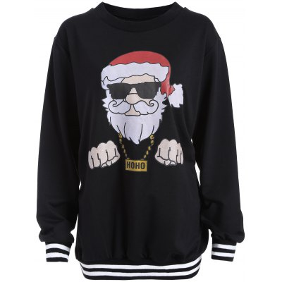 Christmas Santa Print Varsity Striped Sweatshirt