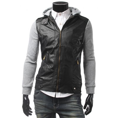 Zippered Hooded Leather Insert Jacket