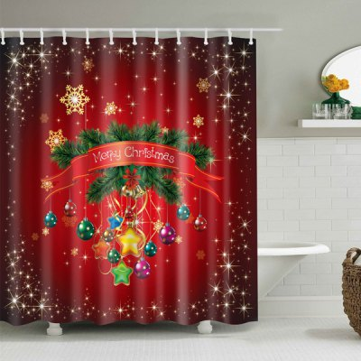 Waterproof Merry Christmas Polyester Bath Shower Curtain