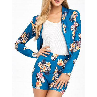 Flower  Suit Jacket With Patterned Shorts
