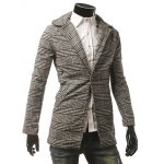 cheap Side Pocket Houndstooth One Button Coat