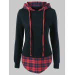 Plus Size Plaid Trim Drawstring Black Red Hoodie