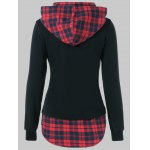 cheap Plus Size Plaid Trim Drawstring Black Red Hoodie
