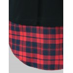 best Plus Size Plaid Trim Drawstring Black Red Hoodie