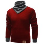 cheap Zip Up High Neck Ribbed Pullover Sweater