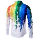 cheap Colorful Splatter Paint Print Turndown Collar Long Sleeve Shirt