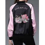 best Color Block Embroidery Bomber Jacket